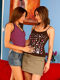 Goldie and Anitta : Sultry teens dildo and strapon fuck tight holes on couch