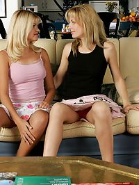 Andi and Sam : Alluring blonde teens lap and strapon fuck sweet pussies