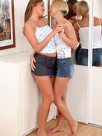 Sydnee and Lorin : Lovely teens lesbians nude and strapon fuck fresh twats
