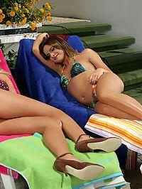 Briget and Britta : Sunbathing teen vixens nude lick and strapon fuck hot twats