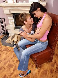 Crecy and Melissa : Lesbian teens get naked and strapon fuck tight pink pussies