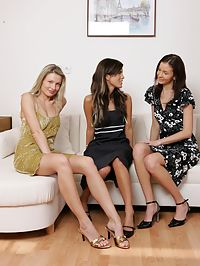 Barbara Jackie and Michelle : Alluring teen trio strip lick and fist pink pussies on sofa