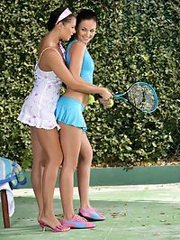 Billy and Isabella : Stunning brunettes nude and have hot sex on tennis court