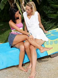 Aneta J and Debby : Sizzling teens nude and finger wet pink pussies in the pool