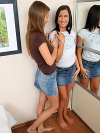 Alla and Kelsie : Tempting teens tenderly tongue and finger sweet pussies