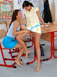 Linda and Linnea : Naughty little schoolgirl lesos get horny in the classroom