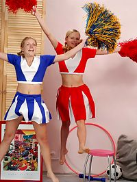 Andrea and Rene : Sweetest little lesbian cheerleaders playing naughty games
