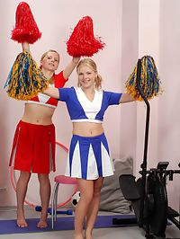 Andrea and Rene : Watch horny little cheerleaders enjoy tongue fucking action