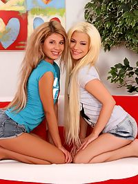 Anya and Dalia - Petite vixens lick and dildo twats