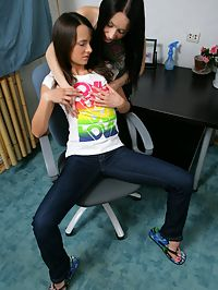 Tasha and Nella - Petite teens dildo tight pussies