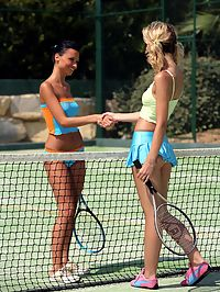 Debby and Aneta - Hot teens have sex on tennis court