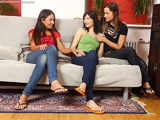 Rosalie, Ashlie and Neve - Three adorable teens lap and finger
