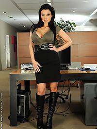Aletta Ocean is masturbating in an empty office