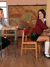 Schoolgirl gets double anal by teacher n classmate