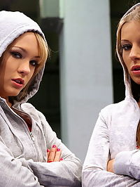 Hot pornstar babes are fighting in a boxing ring