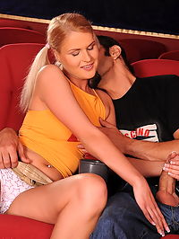 Hardcore fucking and sucking action in the cinema