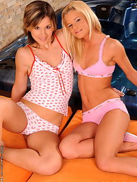 Sexy lesbian blonde teens are dildoing themselves