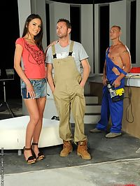 Nataly Gold got fucekd hard by two horny workers