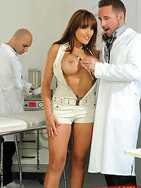 Very busty babe in a dp action at the gynecologist