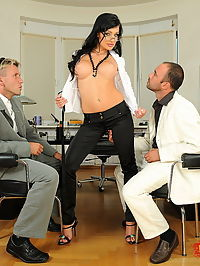 Hot brunette babe got fucked hard by two horny man