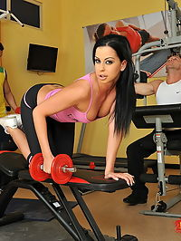 Hardcore DP fucking action during workout at a gym