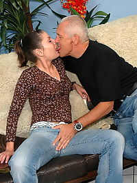 Old grandpa is fucking a petite schoolgirl at home