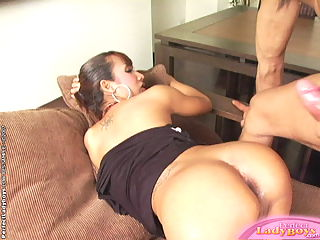 Horny shemale gets fake and real cock into ass