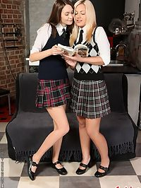 Ashley and Milla in lesbian schoolgirl romance