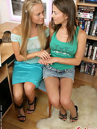 Hot lesbian babes anal dildoing instead od studing
