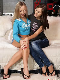 Lesbian teen babes are loving each other asshole
