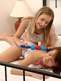 Sexy teen lesbians are fisting and dildoing each