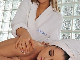 Very hot lesbian babes fucking in a massage saloon