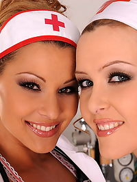 Very hot lesbian nurses are fingering each other