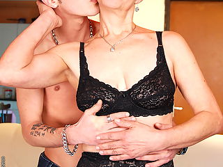 Lusty mature ladie having sex with young boy toy