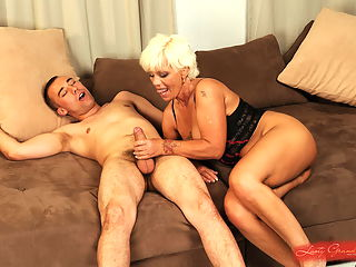 Sexy granny fucking and gets facial by young guy