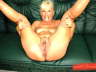Busty blonde grandma fucking and sucking too