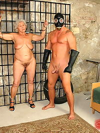 Very old granny in bondage scenes with young cock