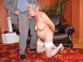 Guy fuckin old grandmas creased tits and hairy pussy