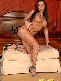 Busty fishnet babe in hc doggystyle anal fucking