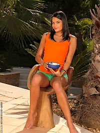Gorgeous teen body creamed with milk and fruits