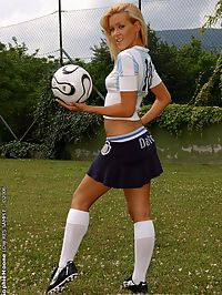 World cup fan Sophie fingering in football dress