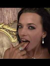 Filthy slut Shaliana in a naughty bukkake party