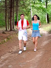 Fucking a really cute jogging teenager anally in the forest