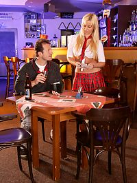 Very cute blonde barmaid takes it up her tight gaping ass