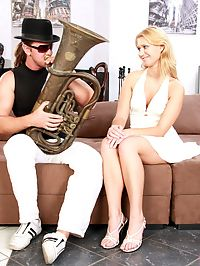 A horny chick blowing his big stiff tuba after anal fuck