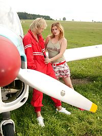 Redhead girl gets her ass fucked by the airplane mechanic