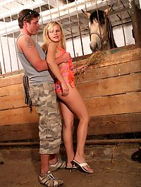 Naughty blonde teenager gets her ass fucked in a stable