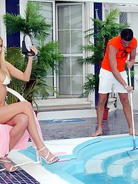 Blonde beauty gets her tiny ass fucked hard near a pool