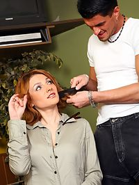 Dirty redhead barber gets fucked hard in her tight asshole