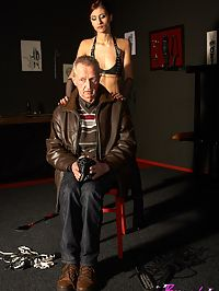 Senior dude spanked hard by a horny mistress and her whip